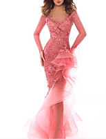 cheap -Mermaid / Trumpet Sexy Pink Engagement Formal Evening Dress V Neck Long Sleeve Floor Length Tulle with Ruffles Appliques 2020