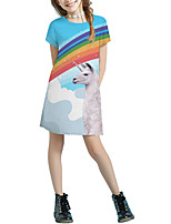 cheap -Kids Girls' Basic Cute Solid Colored Cartoon Patchwork Print Short Sleeve Above Knee Dress Blue