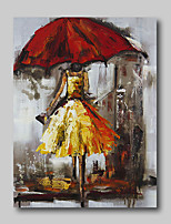 cheap -Oil Painting Hand Painted - Abstract Comtemporary Modern Stretched Canvas Girls Umbrella