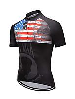 Недорогие -21Grams Муж. С короткими рукавами Велокофты Черный / красный Американский / США Флаги Велоспорт Джерси Верхняя часть Горные велосипеды Шоссейные велосипеды Устойчивость к УФ Дышащий Быстровысыхающий