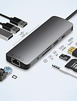 Недорогие -litbest usb 3.1 тип c концентратор 65w pd 4k hdmi 2.0 / usb 3.0 / rj45 / 3.5mm аудио / sd tf карта usb-концентратор 9 портов высокоскоростной / с кард-ридером (-ами) / с поддержкой функции доставки