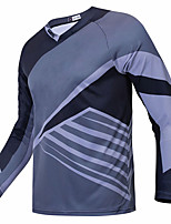 cheap -21Grams Men's Long Sleeve Cycling Jersey Downhill Jersey Dirt Bike Jersey Grey Stripes Geometic Bike Jersey Top Mountain Bike MTB Road Bike Cycling UV Resistant Breathable Quick Dry Sports Clothing