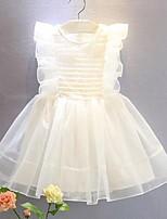 Недорогие -Дети (1-4 лет) Девочки Однотонный Без рукавов Выше колена Платье Белый