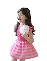 Недорогие -Дети Девочки Милая Симпатичные Стиль Полоски Без рукавов Выше колена Платье Пурпурный