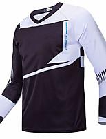 cheap -21Grams Men's Long Sleeve Cycling Jersey Downhill Jersey Dirt Bike Jersey Black / White Geometic Bike Jersey Top Mountain Bike MTB Road Bike Cycling UV Resistant Breathable Quick Dry Sports Clothing