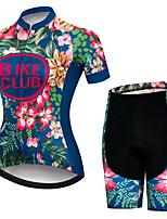 Недорогие -21Grams Жен. С короткими рукавами Велокофты и велошорты Красный + синий Цветочные ботанический Велоспорт Наборы одежды Дышащий 3D / Слабоэластичная / Быстровысыхающий / Горные велосипеды / 3D-панель