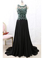 cheap -A-Line Sparkle Black Engagement Formal Evening Dress Illusion Neck Sleeveless Court Train Chiffon with Pleats Beading Sequin 2020