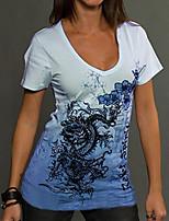 cheap -Women's Plus Size Geometric T-shirt Daily V Neck Blue / Purple / Yellow / Blushing Pink / Green