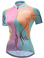 Недорогие -21Grams Жен. С короткими рукавами Велокофты Розовый + зеленый В полоску Бабочка Цветочные ботанический Велоспорт Джерси Верхняя часть Горные велосипеды Шоссейные велосипеды / Эластичная / Дышащий