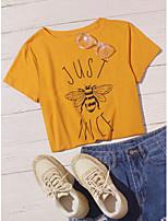 cheap -Women's Animal Print T-shirt - Cotton Daily Yellow