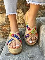 cheap -Women's Sandals Flat Sandal Summer Flat Heel Open Toe Boho Daily Beach PU Rainbow