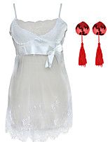 cheap -Women's Lace / Backless / Bow Plus Size Erotic Suits Nightwear Solid Colored Red White Black S M L