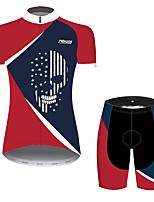 Недорогие -21Grams Жен. С короткими рукавами Велокофты и велошорты Красный + синий Черепа Американский / США Флаги Велоспорт Наборы одежды / Слабоэластичная / Быстровысыхающий / Дышащий / Горные велосипеды