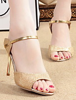 cheap -Women's Sandals Stiletto Heel Open Toe PU Summer Gold / White / Silver