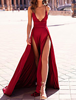cheap -A-Line Minimalist Red Party Wear Formal Evening Dress Spaghetti Strap Sleeveless Sweep / Brush Train Satin with Split 2020