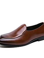 cheap -Men's Spring & Summer / Fall & Winter Classic / Casual Daily Office & Career Loafers & Slip-Ons Faux Leather Breathable Non-slipping Wear Proof Brown / Black