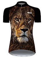 cheap -21Grams Women's Short Sleeve Cycling Jersey Black / Yellow Animal Lion Bike Jersey Top Mountain Bike MTB Road Bike Cycling UV Resistant Breathable Quick Dry Sports Clothing Apparel / Stretchy