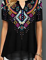 cheap -Women's Geometric Print T-shirt - Cotton Daily Black