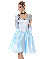 cheap -Princess Cinderella Dress Flower Girl Dress Women's Movie Cosplay A-Line Slip Cosplay Light Blue Dress Gloves Headwear Halloween Carnival Masquerade Tulle Polyester
