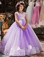 cheap -Princess Dress Flower Girl Dress Girls' Movie Cosplay A-Line Slip Purple / Pink / Fuchsia Dress Children's Day Masquerade Tulle Rhinestone Cotton