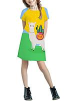 cheap -Kids Girls' Basic Cute Solid Colored Cartoon Patchwork Print Short Sleeve Above Knee Dress Yellow