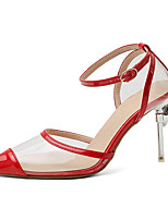 cheap -Women's Sandals Stiletto Heel Pointed Toe Buckle PU Classic / Minimalism Spring & Summer Dark Red / Almond / Gold / Wedding / Party & Evening / Color Block