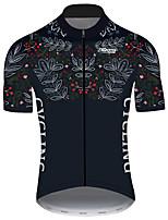 Недорогие -21Grams Муж. С короткими рукавами Велокофты Черный / Белый Лист Цветочные ботанический Велоспорт Джерси Верхняя часть Горные велосипеды Шоссейные велосипеды Устойчивость к УФ Дышащий Быстровысыхающий
