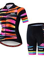 Недорогие -21Grams Жен. С короткими рукавами Велокофты и велошорты Черный / оранжевый В полоску Градиент Велоспорт Наборы одежды Дышащий 3D / Слабоэластичная / Быстровысыхающий / Горные велосипеды / 3D-панель