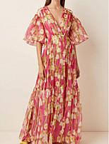 Недорогие -плиссированные картины с принтом A-Line цветочные макси с короткими рукавами и воздушными шарами с v-образным вырезом длиной до пола, шифоновое праздничное платье выпускного вечера