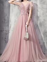 Недорогие -складки аппликации бальное платье роскошный короткий лепесток рукав v шеи развертки кисть поезд шифон обручальное вечернее платье