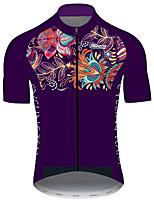 Недорогие -21Grams Муж. С короткими рукавами Велокофты Лиловый Цветочные ботанический Велоспорт Джерси Верхняя часть Горные велосипеды Шоссейные велосипеды Устойчивость к УФ Дышащий Быстровысыхающий Виды спорта