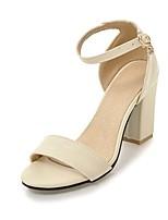 cheap -Women's Sandals Heel Sandals Black Sandals Fall / Spring & Summer Chunky Heel Open Toe Vintage British Party & Evening Office & Career PU Black / Pink / Beige