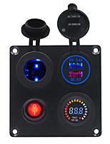 Недорогие -dc12v / 24v 2.4a автомобильная квадратная алюминиевая пластина с независимым выключателем с держателем лампы qc3.0 комбинированная панель с вольтметром с двойным цветным экраном usb / широкий спектр