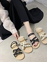 cheap -Women's Sandals Flat Sandal 2020 Spring &  Fall / Spring & Summer Flat Heel Open Toe Sweet Minimalism Daily Home Polka Dot PU Black / Beige