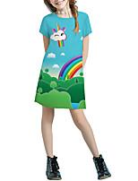 Недорогие -Дети Девочки Классический Симпатичные Стиль Однотонный Мультипликация Пэчворк С принтом С короткими рукавами Выше колена Платье Светло-зеленый