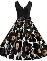 cheap -Women's Sheath Dress - Sleeveless Floral Print Print V Neck Vintage Style Street chic Daily Going out Black S M L XL XXL
