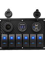 Недорогие -автомобильное зарядное устройство dc12v / 24v / прикуриватель / 5-контактный двойной светильник, 6-позиционный переключатель, держатель для сигареты, двойная комбинированная панель usb-вольтметра /