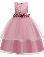 cheap -Princess Round Floor Length Cotton Junior Bridesmaid Dress with Bow(s) / Appliques