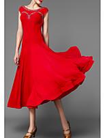 cheap -Ballroom Dance Dress Pleats Women's Performance Cap Sleeve Polyester Taffeta