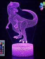 Недорогие -3d динозавр ночной свет привел иллюзию лампы 16 изменение цвета пульт дистанционного управления декор огни для кровати гостиной дети девочки мальчики рождество а. А. С питанием от батареи / USB 1 шт.