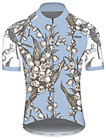cheap -21Grams Men's Short Sleeve Cycling Jersey Blue Floral Botanical Bike Jersey Top Mountain Bike MTB Road Bike Cycling UV Resistant Breathable Quick Dry Sports Clothing Apparel / Stretchy / Race Fit