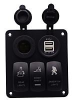 Недорогие -автомобильное зарядное устройство dc12v / 24v 5-контактный двойной свет красоты дикарь шаблон 3-позиционный переключатель освещенный держатель для прикуривателя на вынос белый сердечник двойной USB /