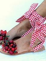 Недорогие -Жен. Сандалии Плоская сандалия Лето На плоской подошве Открытый мыс Повседневные Полиуретан Розовый