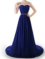 cheap -A-Line Elegant Blue Engagement Formal Evening Dress Illusion Neck Sleeveless Sweep / Brush Train Polyester with Beading Draping 2020