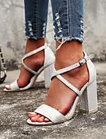 cheap -Women's Sandals Chunky Heel Open Toe PU Summer Pink / Silver