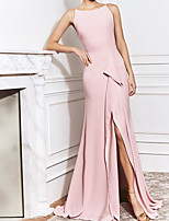 cheap -Sheath / Column Elegant Pink Wedding Guest Formal Evening Dress Boat Neck Sleeveless Sweep / Brush Train Polyester with Split 2020