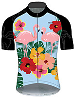 cheap -21Grams Men's Short Sleeve Cycling Jersey Blue+Pink Flamingo Animal Floral Botanical Bike Jersey Top Mountain Bike MTB Road Bike Cycling UV Resistant Breathable Quick Dry Sports Clothing Apparel