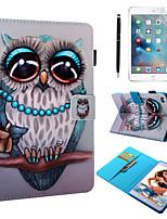 Недорогие -кейс&усилитель; Стилус&усилитель; 1шт защита экрана для Apple Ipad Mini 12345 с подставкой / флип / ультратонкий задняя крышка сова искусственная кожа