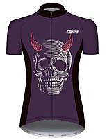 Недорогие -21Grams Жен. С короткими рукавами Велокофты Фиолетовый Черепа Велоспорт Джерси Верхняя часть Горные велосипеды Шоссейные велосипеды Устойчивость к УФ Дышащий Быстровысыхающий Виды спорта Одежда