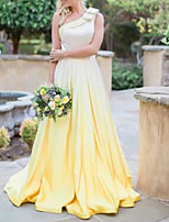 cheap -A-Line Minimalist Yellow Engagement Formal Evening Dress One Shoulder Sleeveless Court Train Satin with Pleats 2020